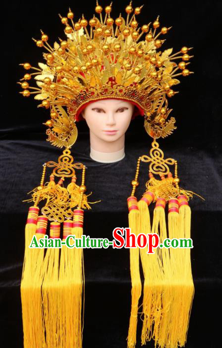 Chinese Traditional Peking Opera Bride Golden Phoenix Coronet Beijing Opera Princess Chaplet Hats for Women