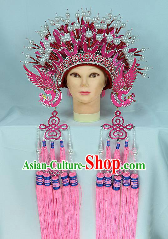 Chinese Traditional Peking Opera Bride Phoenix Coronet Beijing Opera Princess Rosy Chaplet Hats for Women
