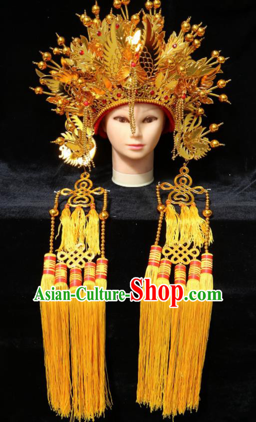 Chinese Traditional Peking Opera Actress Bride Golden Phoenix Coronet Beijing Opera Princess Chaplet Hats for Women
