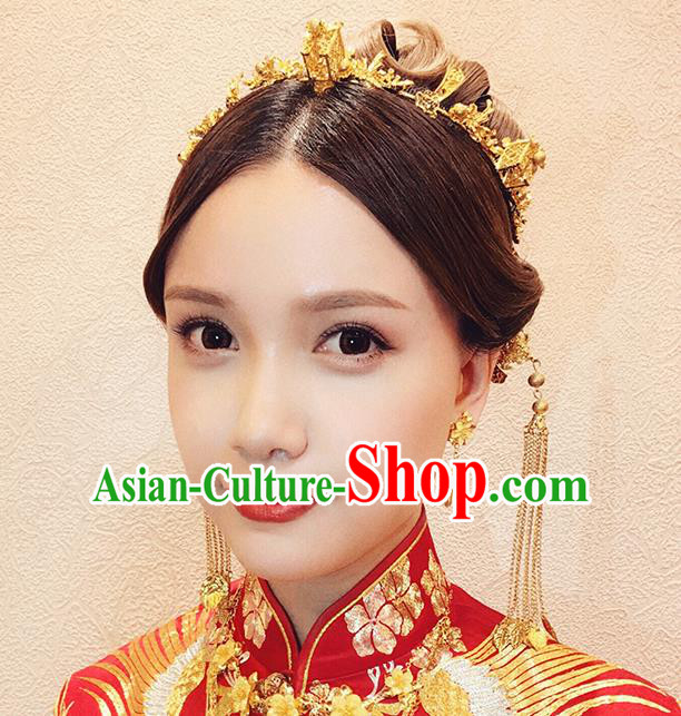 Chinese Ancient Traditional Hanfu Wedding Hair Clasp Hairpins Handmade Classical Hair Accessories Complete Set for Women