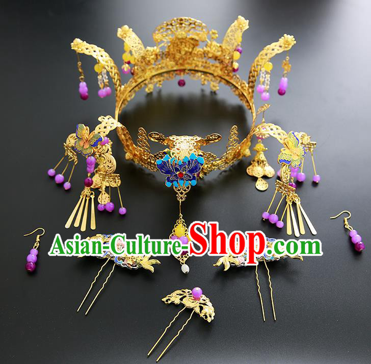 Chinese Ancient Traditional Hanfu Hairpins Blueing Phoenix Coronet Handmade Classical Hair Accessories Complete Set for Women