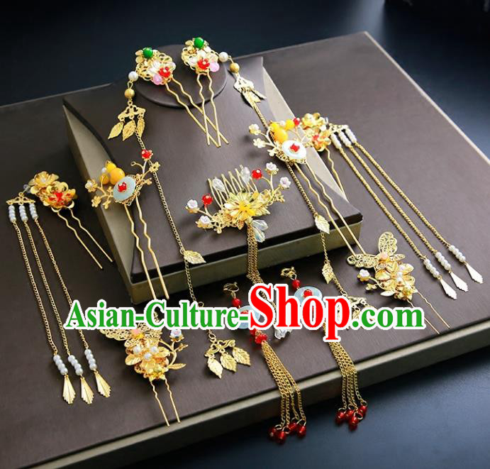 Chinese Ancient Traditional Hanfu Tassel Hairpins Handmade Bride Classical Hair Accessories for Women