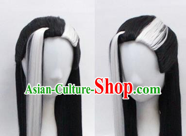Chinese Ancient Cosplay Swordsman Wigs Traditional Knight Chignon Handmade Wig Sheath