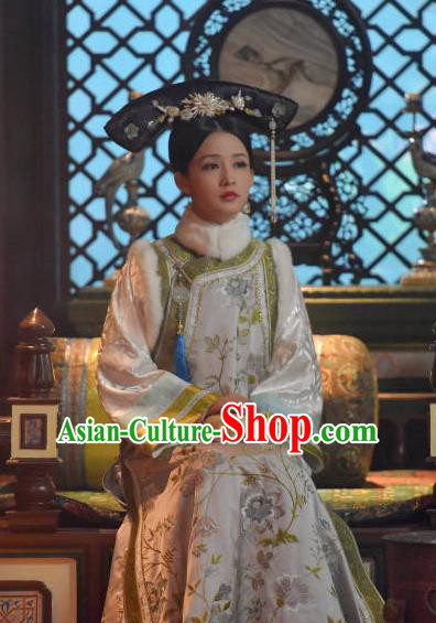 Drama Ruyi Royal Love in the Palace Chinese Ancient Qing Dynasty Manchu Imperial Consort Embroidered Costumes and Headpiece for Women