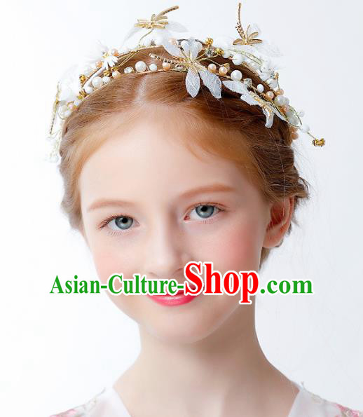 Children Modern Dance Catwalks Hair Accessories Stage Performance Dragonfly Royal Crown for Kids