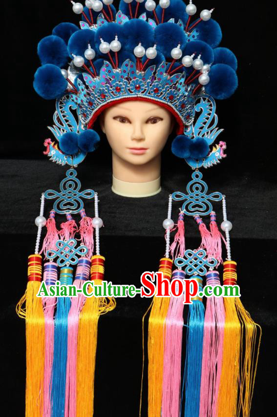 Chinese Traditional Peking Opera Phoenix Coronet Beijing Opera Diva Royalblue Venonat Headwear for Women