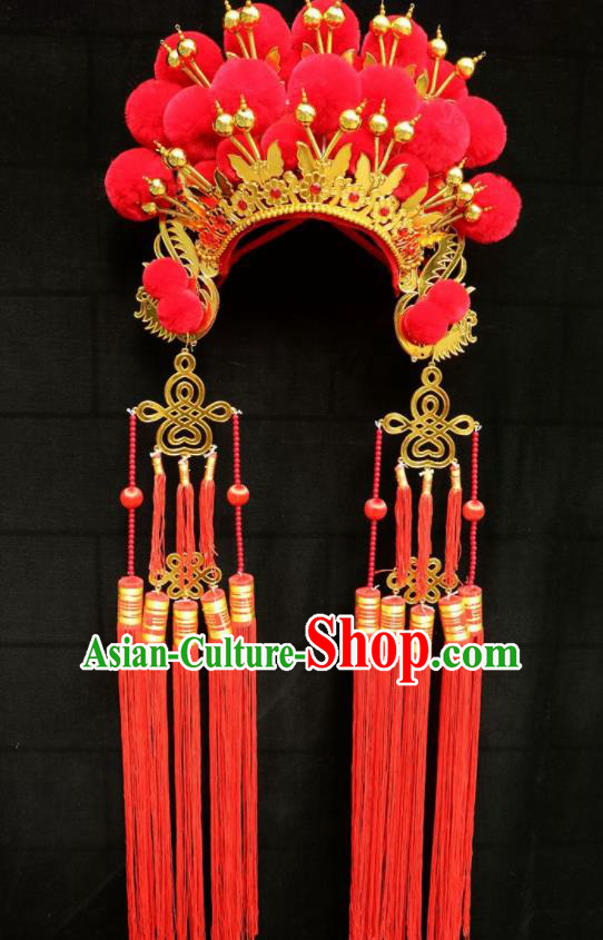 Chinese Traditional Peking Opera Phoenix Coronet Beijing Opera Diva Red Venonat Headwear for Women