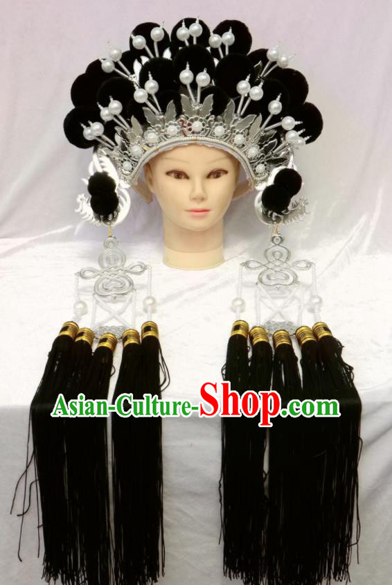 Chinese Traditional Peking Opera Phoenix Coronet Beijing Opera Diva Black Venonat Headwear for Women