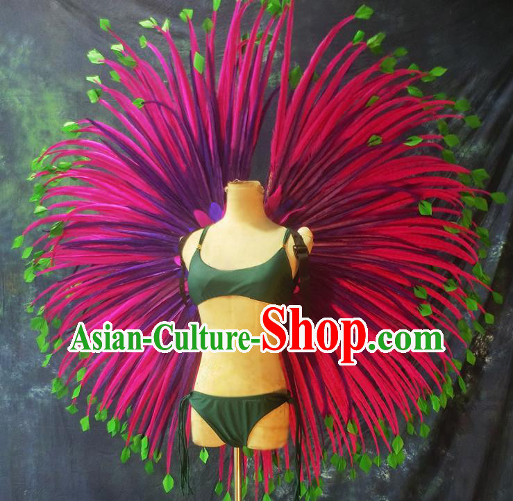 Halloween Cosplay Stage Show Props Accessories Brazilian Carnival Parade Rosy Feather Wings for Women