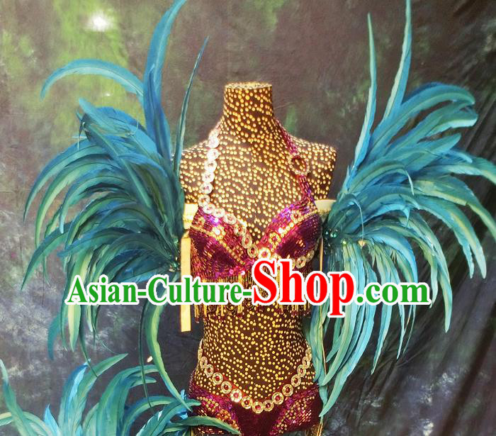 Halloween Cosplay Stage Show Props Accessories Brazilian Carnival Parade Blue Feather Wings for Women