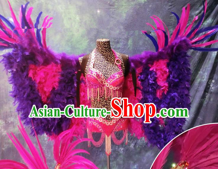 Halloween Stage Show Feather Costumes Brazilian Carnival Parade Swimsuit and Wings for Women