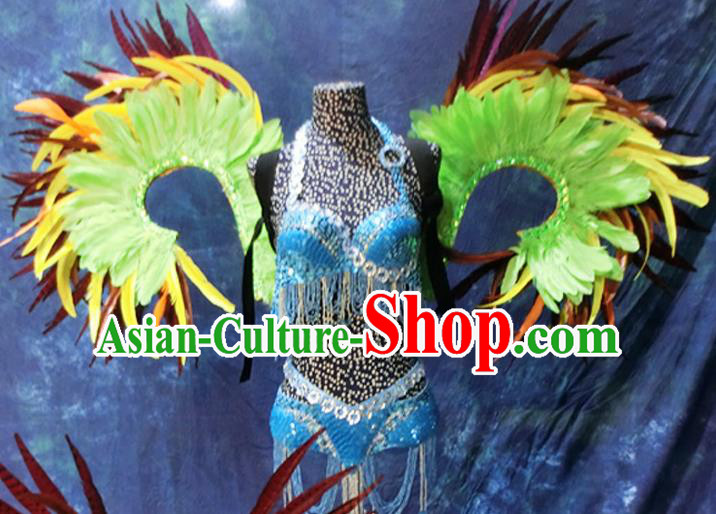Halloween Stage Show Feather Costumes Brazilian Carnival Parade Blue Swimsuit and Wings for Women