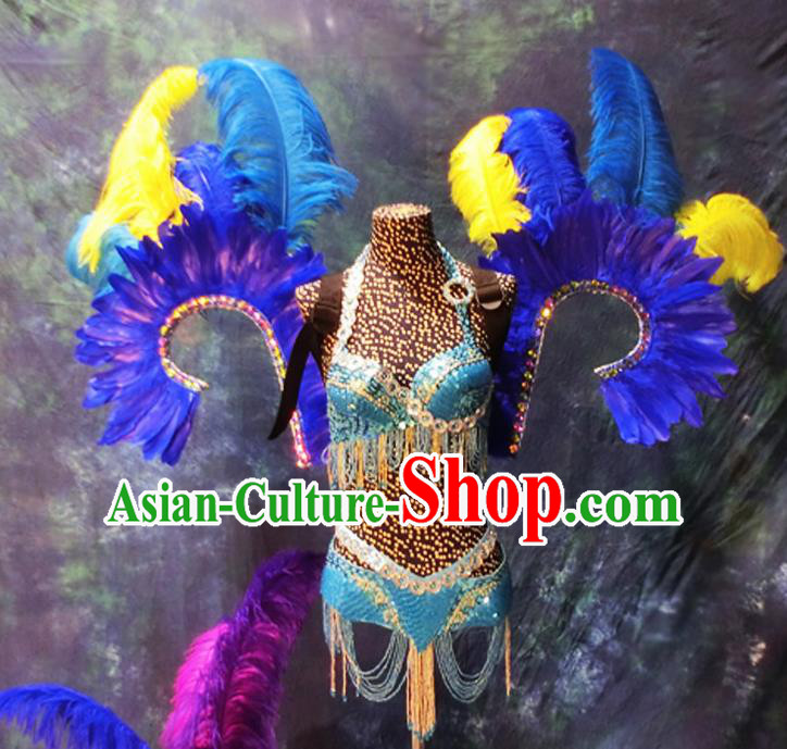 Halloween Stage Show Blue Feather Costumes Brazilian Carnival Parade Swimsuit and Wings for Women