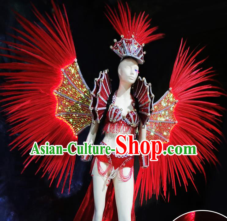 Halloween Stage Show Red Feather Samba Costumes Brazilian Carnival Parade Swimsuit and Wings for Women