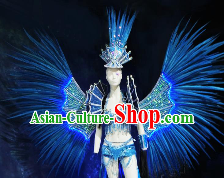 Halloween Stage Show Blue Feather Samba Costumes Brazilian Carnival Parade Swimsuit and Wings for Women