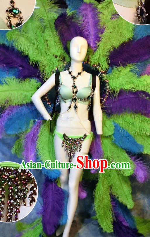 Halloween Catwalks Stage Show Samba Costumes Brazilian Carnival Parade Clothing and Feather Wings for Women