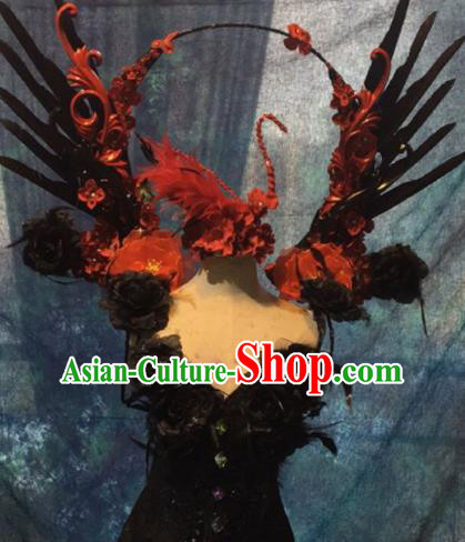 Halloween Cosplay Stage Show Props Catwalks Costumes Brazilian Carnival Parade Feather Wings for Women