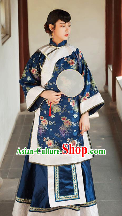 Traditional Chinese Qing Dynasty Landlord Shiva Navy Xiuhe Suits Ancient Drama Nobility Lady Costumes for Women