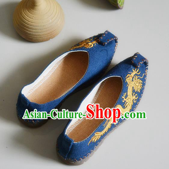 Chinese Traditional National Embroidered Dragons Navy Linen Shoes Martial Arts Shoes Ancient Monk Shoes for Men