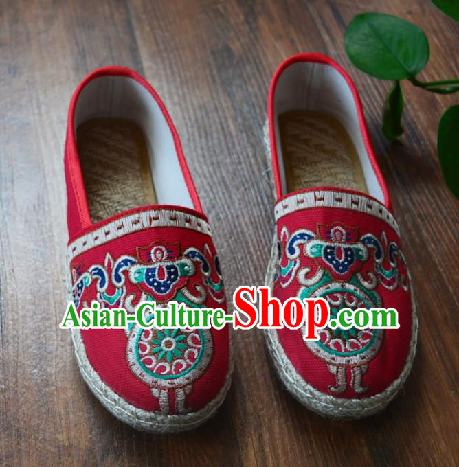 Chinese Traditional Hanfu Shoes Ancient Martial Arts Shoes Embroidered Red Shoes for Women