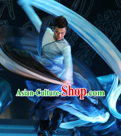 Chinese Traditional Classical Dance Blue Costumes Drama Performance Dance Clothing for Men