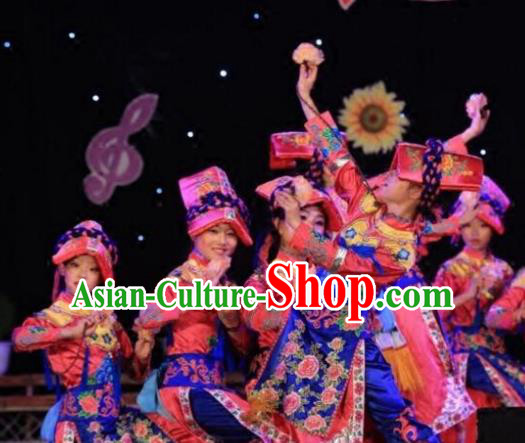 Chinese Traditional Yi Nationality Group Dance Costumes Classical Dance Stage Performance Dress for Women
