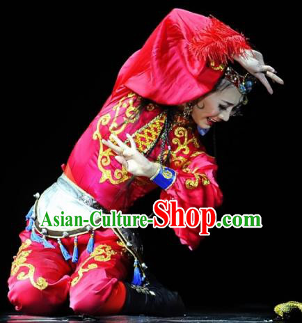 Chinese Traditional Classical Dance Costumes Stage Performance Uyghur Nationality Dance Red Dress for Women