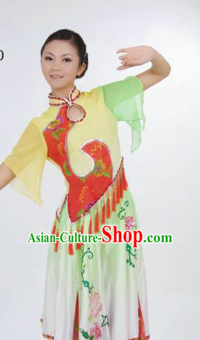 Chinese Traditional Folk Dance Group Dance Costumes Fan Dance Stage Performance Dress for Women