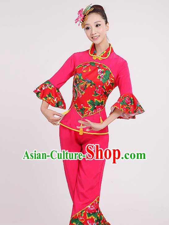 Chinese Traditional Yangko Dance Village Girl Rosy Costumes Group Dance Folk Dance Clothing for Women