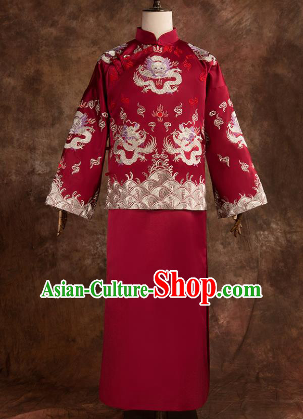 Chinese Traditional Wedding Costumes Bridegroom Embroidered Dragon Tang Suit Long Gown for Men