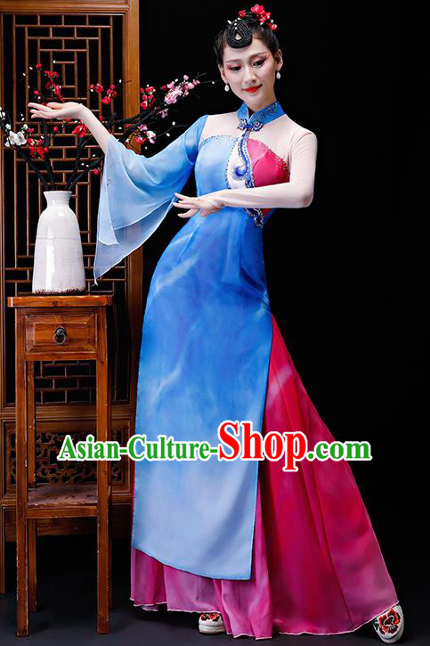 Chinese Traditional Classical Dance Costumes Umbrella Dance Group Dance Dress for Women