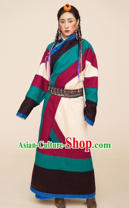 Traditional Chinese Zang Nationality Dance Costumes Ethnic Folk Dance Tibetan Robe for Women