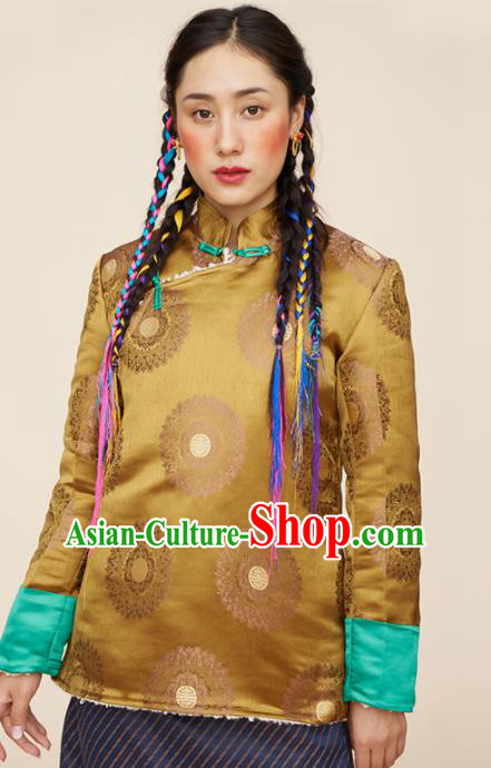 Traditional Chinese Zang Nationality Dance Costumes Tibetan Ethnic Folk Dance Golden Overcoat for Women