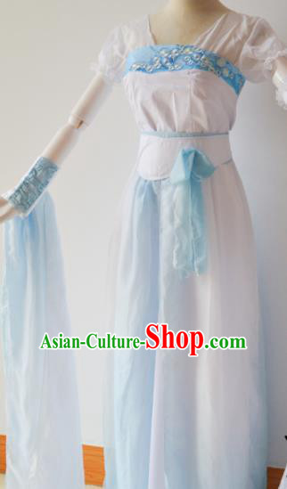 Traditional Chinese Han Dynasty Aristocratic Lady Costumes Ancient Cosplay Swordswoman White Hanfu Dress for Women