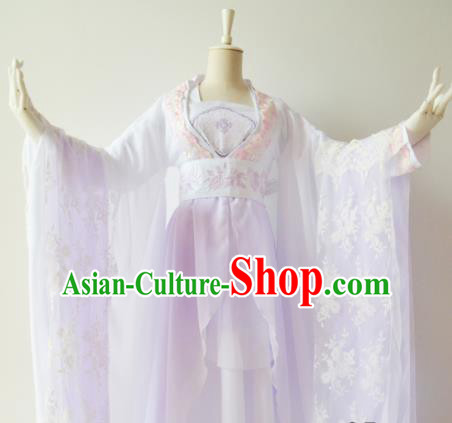 Traditional Chinese Tang Dynasty Princess Costumes Ancient Cosplay Imperial Concubine Lilac Hanfu Dress for Women