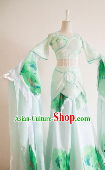 Traditional Chinese Tang Dynasty Princess Costumes Ancient Cosplay Peri Green Hanfu Dress for Women
