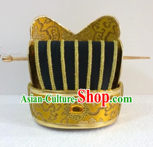 Chinese Ancient Minister Hair Accessories Han Dynasty Prime Minister Hat Headwear for Men