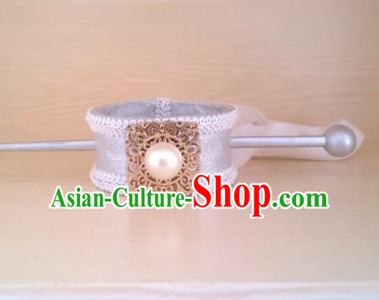Chinese Ancient Prince Hair Accessories Han Dynasty Swordsman White Hairpins Headwear for Men