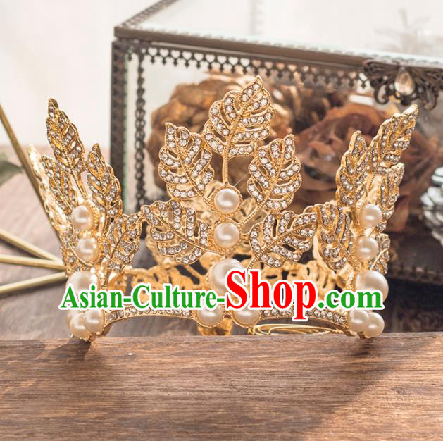 Top Grade Handmade Wedding Hair Accessories Bride Golden Leaf Royal Crown Headwear for Women