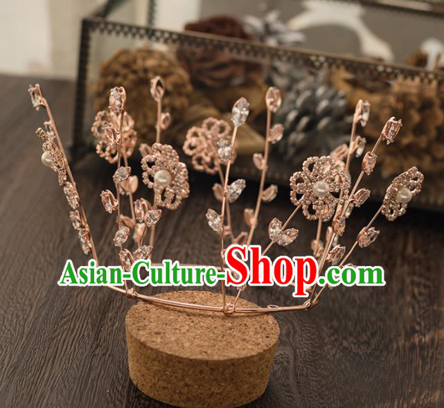Top Grade Handmade Wedding Hair Accessories Bride Crystal Royal Crown Headwear for Women
