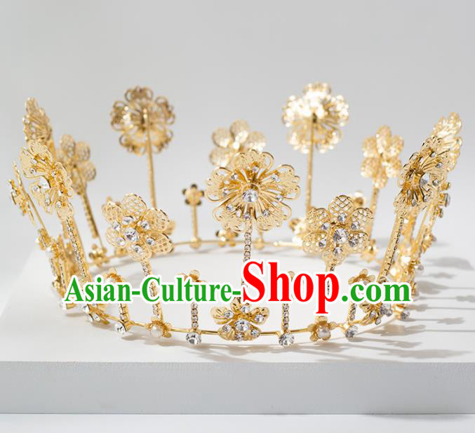Top Grade Handmade Wedding Hair Accessories Bride Golden Round Royal Crown Headwear for Women