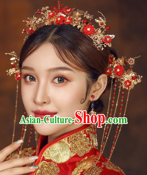Chinese Ancient Palace Bride Red Flowers Hair Crown Wedding Hair Accessories Tassel Hairpins Headwear for Women