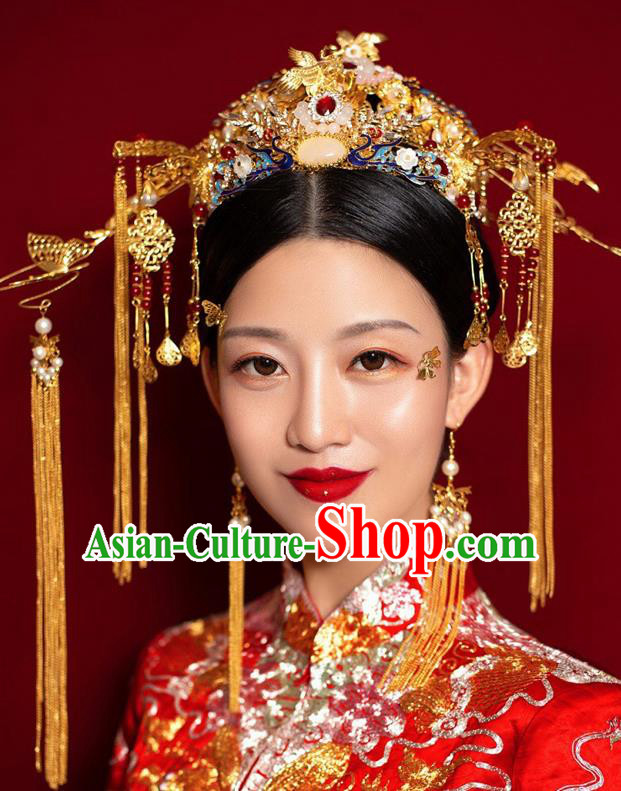 Chinese Ancient Palace Bride Phoenix Coronet Wedding Hair Accessories Tassel Hairpins Headwear for Women