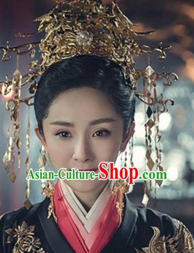 Chinese Ancient Palace Bride Hair Accessories Queen Phoenix Coronet Hairpins Headwear for Women