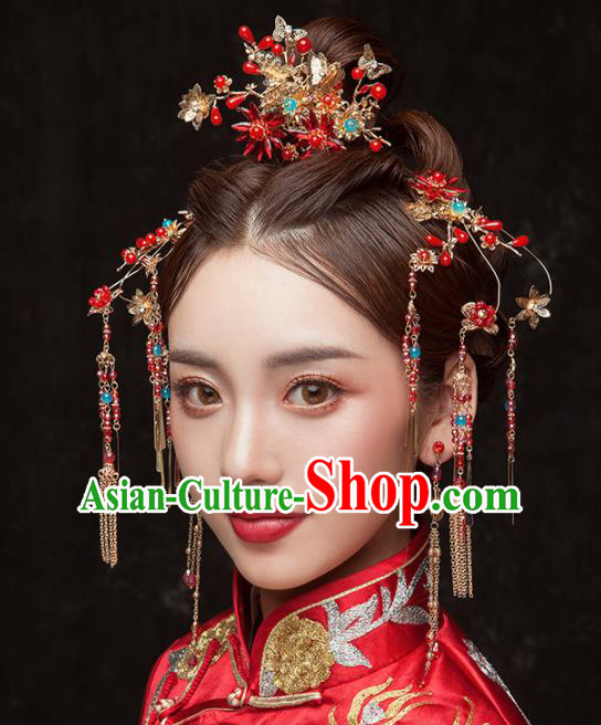 Chinese Ancient Palace Bride Hair Accessories Tassel Hair Clips Hairpins Headwear for Women