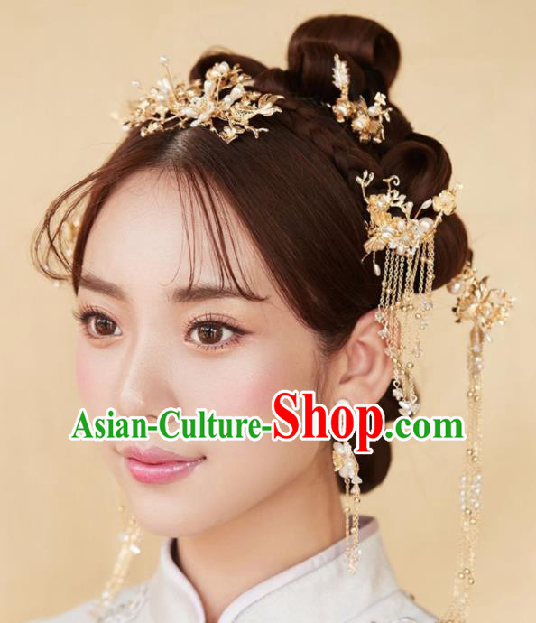 Chinese Ancient Palace Bride Hair Accessories Hanfu Hair Comb Hairpins Headwear for Women