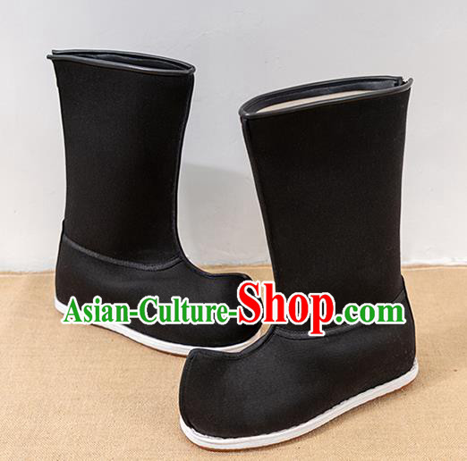 Chinese Traditional Shoes Ancient Swordsman Black Boots Opera Shoes Hanfu Boots for Men