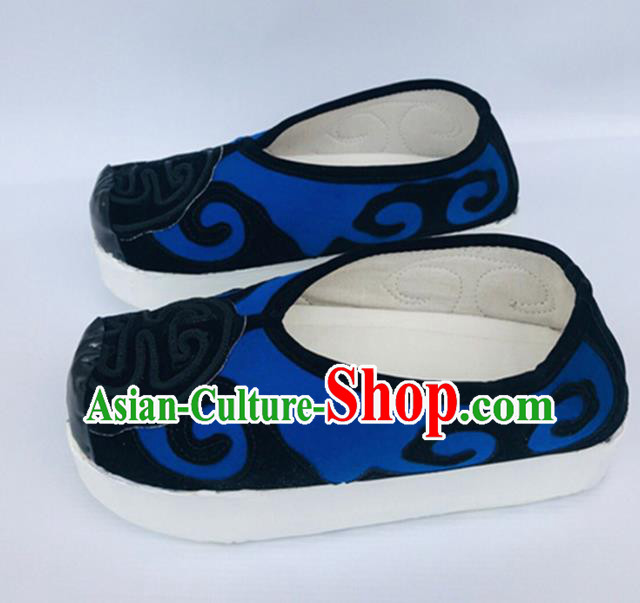 Chinese Traditional Shoes Ancient Beijing Opera Shoes Hanfu Royalblue Shoes for Men