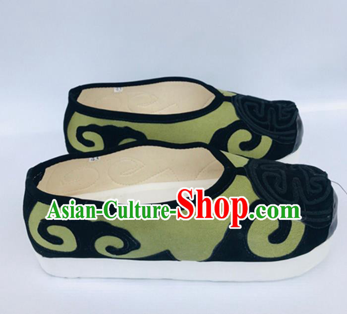 Chinese Traditional Shoes Ancient Beijing Opera Shoes Hanfu Green Shoes for Men