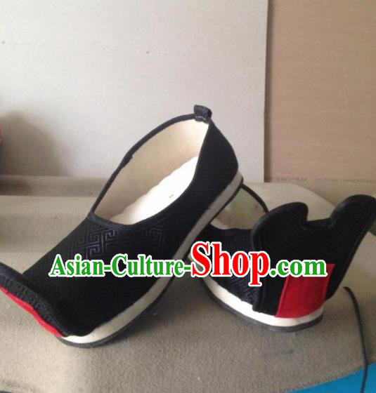 Chinese Traditional Shoes Beijing Opera Shoes Ancient Wedding Black Hanfu Shoes for Men